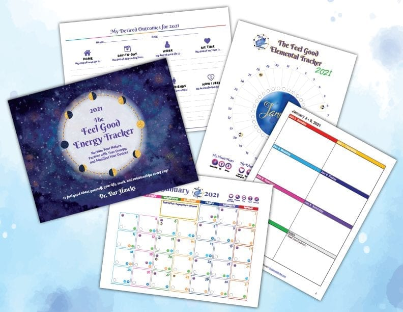 Cover Annual Plan Monthly Weekly Circle Mockup - Dr. Dar Hawks - Feel Good Energy Tracker